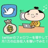 twitterフォロワーを増やして広告収入による月1万円のお金を稼ぐ方法