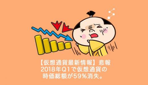 【仮想通貨最新情報】悲報 2018年Q1で仮想通貨の時価総額が59%消失。